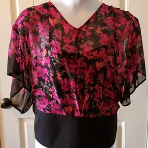 Sheer Floral Top w/Black Camisole NWT